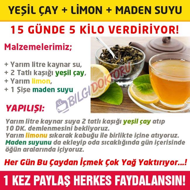 maden suyu yeşil çay limon